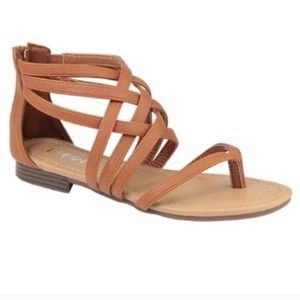 Shoes - NWT Tan Strappy Flat Sandals with a Zip-Up Back